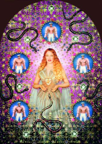 La Vierge aux serpents (Jungfrau mit Schlangen) (Kylie Minogue), 2008 Gemalte Fotografie, von den Künstlern eingerahmt, 181 x 137 cm (mit Rahmen)...