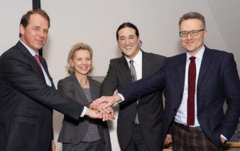 Jörg L. Jordan, Geschäftsführer W. & L. Jordan, Stefanie Kerpen, Leiterin Produktmanagement Heimtextilien, Dan Schmitz, geschäftsführender Ges...