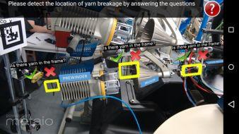 Screenshot einer AR-basierten Applikation für die Assistenz bei der Schussbruchbehebung