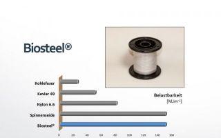 Mechanische Belastbarkeit von Biosteel im Vergleich Photos: AMSilk GmbH
