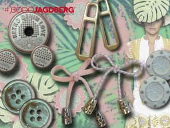 Bodo Jagdbergüberträgt verwaschene und pastellige Looks auf Knöpfe und Zierteile