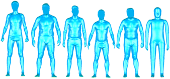 Abb. 2: 3D-CAD-Daten - Polygonmodelle (5 Testpersonen, Manikin)