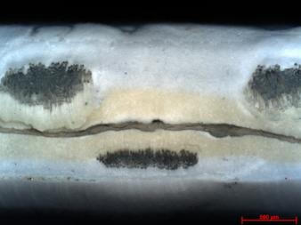 HF-Schweißnaht-Querschnitt , PP-beschichtetes PES-Gewebe mit Hotmelt-Folie │© ITM